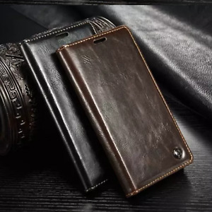for samsung galaxy S6 edge S7 S8 plus Magnetic Flip thick Leather Wallet  luxury