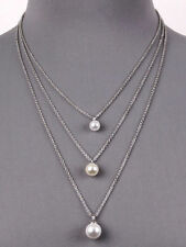 Fashion Multilayer Pearl Silver Tone Necklace Bridal Wedding Women Jewelry