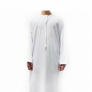 white mens omani thobe jubbah arab turkish middle east quality luxury