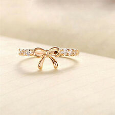 Hot Fashion Womens' Sexy Butterfly Jewelry Hot Simple Ladies Crystal Bow Ring E&