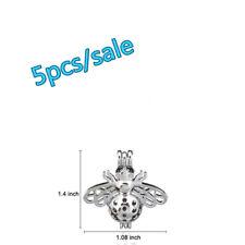 K84-5pcs Bulk Sale ! Silver 29mm Big bee Beads Pearl Cage Pendant (10mm)