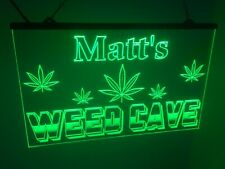Marijuana Personalized Weed Cave Led Neon Light Sign Bar Pub Cafe Mancave