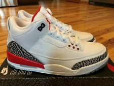 low priced 1f2db 0fbc6 Nike Air Jordan 3 Retro Hall of Fame White Fire Red Cement 136064 116 Size 9