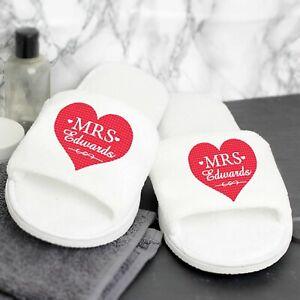 Personalised Velour Mrs Slippers Bride Womens Wedding Spa Honeymoon Gift For Her