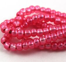 """Czech Glass Seed Beads Size 6/0 """" TERRA SILVER LINED ROSE PINK """" Strands"""