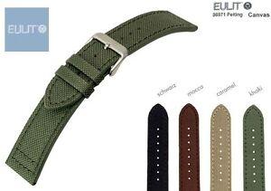 EULIT CANVAS Uhrenarmband mit Unterleder 20 od. 22 mm jetzt auch Blau (5 Farben)