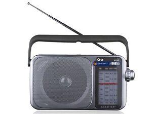 QFX R-24 AM/FM/SW1/SW2 Retro-Styled 4-Band Mini Radio +Built-in Speaker