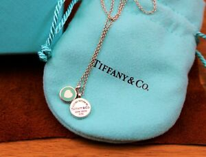 "Tiffany & Co. Round ""Blue Enamel Heart"" Two Charm Pendant Necklace Sterling"