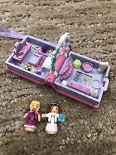 Polly Pocket 1995 Vintage Glitter Wedding Pink Book Locket w/ Both Figures