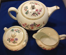 Wedgwood Devon Sprays Bone China Teapot with Sugar & Cream Excellent Condittion