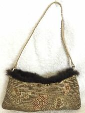 NWOT KOOKAI Beaded Suede Leather/Fur Shoulder Bag / Handbag