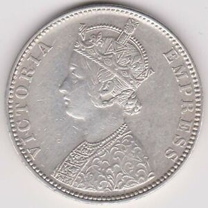 BRITISH INDIA-1887-ONE RUPEE-VICTORA EMPRESS-RAREST BEAUTIFUL SILVER COIN