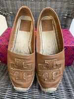 Tory Burch Ines Espadrille Size 7.5 Flat Tan Nappa Leather 52035 Spark Gold
