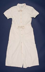 Madewell Wide Leg Utility Jumpsuit In Ivory White Size 14