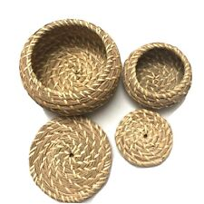 Papago Indian Weaved Coiled Basket With Lid Set Of 2 Southwestern Home Decor