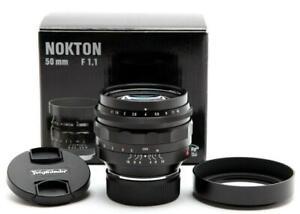 Mint Voigtlander Nokton 50mm f1.1 Leica M Mount Lens (Black) W/ Hood & Box 32063