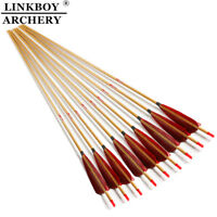 Archery Carbon Arrows SP400 500 600 Turkey Feather Bamboo Skin Bow Hunting 6PCS