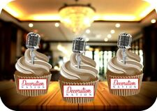 Vintage Microphone 12 Edible STANDUP Cake Toppers Decoration Birthday Retro Fun