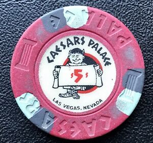 Obsolete, 1980s Caesars Palace , Las Vegas, Nevada,USA, $5 casino Chip/Jeton
