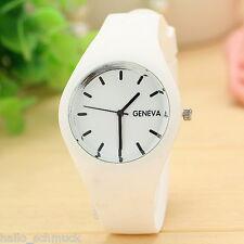 HS Weiß Silikon Band Uhr Damenuhr Armbanduhr Quarzuhr Analog Watch Geschenk