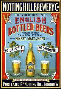 Notting Hill Brewery, English Beers, Pub Bar & Restaurant, Medium Metal Tin Sign
