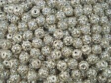 Rhinestone Balls 10mm Silver with Clear 10pcs Spacer Jewel Sphere  FREE POSTAGE