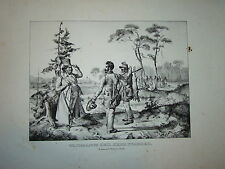GRANDE Litho CHASSE à TIR LIEVRE CHASSEURS GIBIER 1830 HARE HUNTING JAGD LAPIN