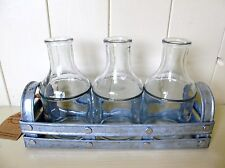 Shabby n Chic Rustic Grey washed Zinc Tray and 3 Glass Bottles.Home/Garden.Gift