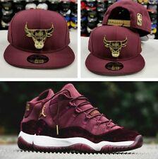 Matching New Era Chicago Bulls Metal Badge Hat For Air Jordan 11 Velvet Maroon