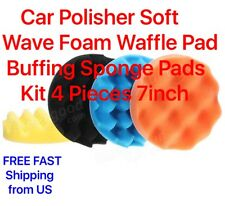 Car Polisher Soft Wave Foam Waffle Pad Buffing Sponge Pads Kit 4 Pieces 7inch