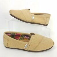 Toms Classics Shoes Woven Burlap Wrap Style Slip On Flats Comfort Tan Women Sz 9