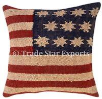 Vintage Hand Woven Kilim Cushion Cover 18x18 Jute Rug Square Throw Pillow Case