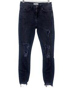 H&M black faded wash skinny ripped distressed raw hem stretch jeans size 10