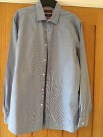 Debenhams Blue And White Striped Slim Fit  Long Sleeved Shirt 15.5