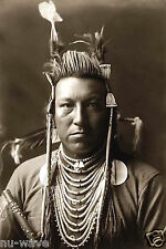 1908 Photo of Crow Indian Swallow Bird with Pompadour & Beaded Hair Pipes