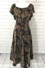 Vintage Samuel Blue 1970s Boho Gypsy Off Shoulder Brown + Black Midi Dress 12