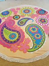 Round Beach Towel 100% COTTON PaisleyTassel Fringe or Yoga, Picnic, Table cover