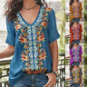 Plus Size Women Short Sleeve Embroidered Blouse T-Shirt V Neck Loose Casual Tops