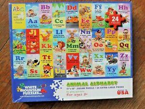Animal Alphabet Puzzle White Mountain Kids Puzzle 24 pc. Ages 3+ ABC Puzzle