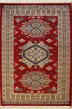 Rugstc 3x5 Caucasian Design Red Area Rug, Hand-Knotted,Geometric with Wool Pile