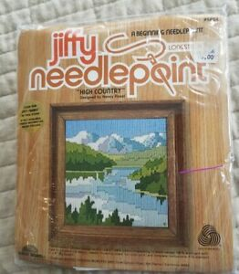"""Jiffy Needlepoint, """"High Country"""" Complete Kit #5854 Longstitch, 5 x 7"""" NOS"""