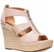 New Michael Kors Damita Espadrille Wedge Sandal soft pink platform zip