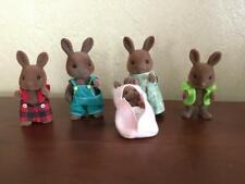 Vtg Lot 5 Brown Rabbit Calico Critters Sylvanian Family Flocked Animal Chocolate