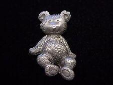 """""""JJ"""" Jonette Jewelry Silver Pewter 'TEDDY BEAR' Tac Pin #3"""