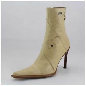 Buffalo Stiefel Gr. 39 High Heels Stiefeletten beige Lederstiefel (#2417)