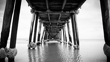 PHOTO BW UNDERNEATH PIER JETTY LAKE WATER GIANT POSTER WALL ART PRINT LLF0039