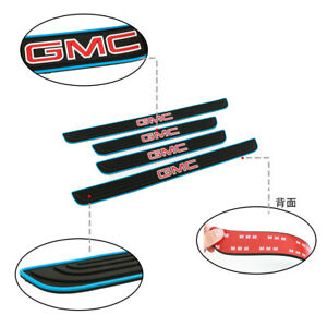 X4 BLUE Border Rubber Car Door Scuff Sill Cover Panel Step Protector for GMC