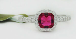 RUBY 0.77 Cts & WHITE SAPPHIRES COCKTAIL RING .925 Silver NWT size 7.75
