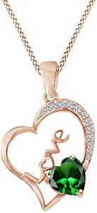 Round Simulated Emerald Open Heart Love Pendant Necklaces  in  Sterling  Silver