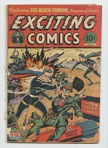 EXCITING COMICS #34 — Schomburg Black Terror WWII rocket cover